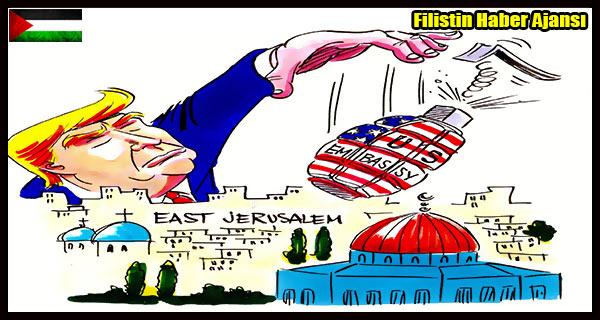 KARIKATUR- Siyonist TRUMP'in Israil Ile KUDUS Plani