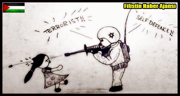 KARIKATUR- SIYONIST Askerler Filistinli Cocuklar SAVUNMA