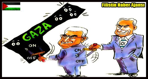 KARIKATUR- Siyonist Netanyahu ve Mahmud Abbas'in GAZZE Elektrik Icraati
