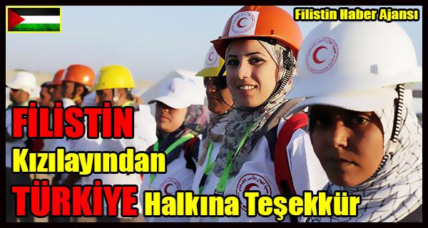 FILISTIN Kizilayindan TURKIYE Halkina Tesekkur